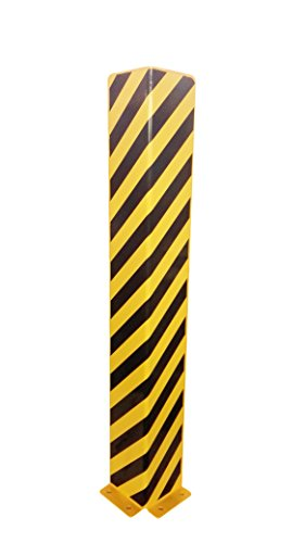 1A-Safety AFS-L-12 Protection anti-collision en acier, LxlxH : 160 mm x 160 mm x 1 200 mm, forme en L, jaune/noir de 1A-Safety
