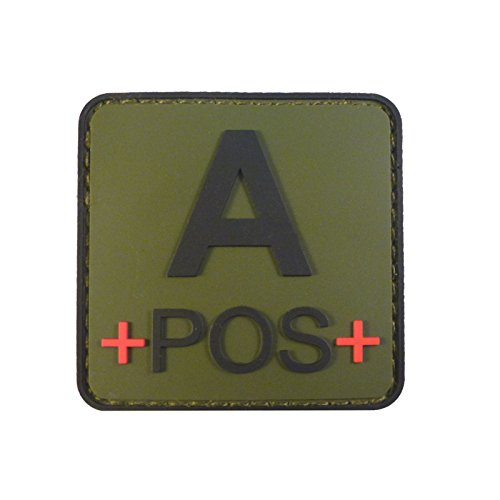 Olive Drab OD Green APOS A+ Groupe Sanguin Tactical Combat PVC Gomme 3D Fastener Écusson Patch de 2AFTER1