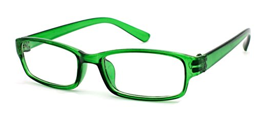 4sold Slim Lunettes de Lecture/de vue - 0.50, 0.75, 1.00, 1.50, (verre transparent) (Green, 0.00) de 4sold