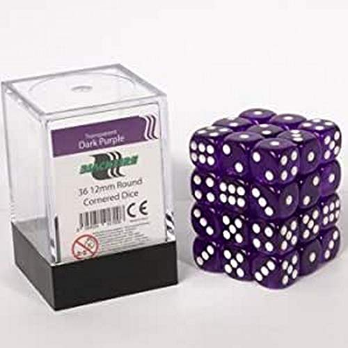 ADC Blackfire Entertainment 91700 D6 Cube dés Lot, Transparent Violet foncé, 36 x 12 mm de ADC Blackfire Entertainment