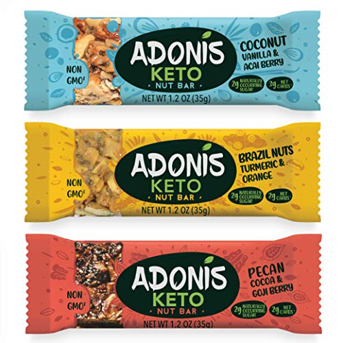 Adonis Low Sugar Nut Bar - Assortiment de Barres aux Noix | 100% Naturelle, Faible teneur en Sucre et Glucides, Sans Gluten, Vegan, Keto, Paleo, Superfood (5) de Adonis
