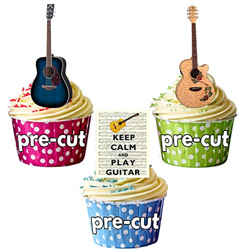 Keep Calm and Play Guitare gâteau décorations – 12 décorations comestibles cup cake de AKGifts