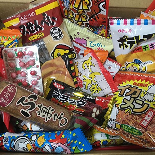 Boîte de Dagashi Snacks japonais 60pcs Umaibo Candy Gumi pomme de terre Chip Kitty chocolat avec AKIBA-KING Sticker de AKIBA KING