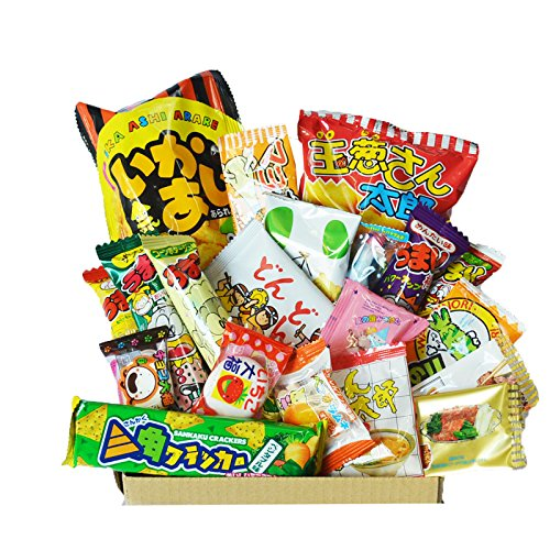 Happy Dagashi Box 20pcs ver.2 Assortiment de bonbons japonais Umaibo Snack papa Chip Gumi Squid chocolat avec AKIBA KING Autocollant de AKIBA KING
