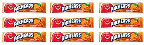 Airheads Orange - Confiseries Américaines Fruitées - Lot de 9 Bonbons de 16 g de Airheads