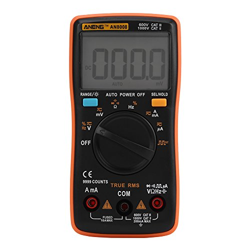 ANENG 9999 Compte Numérique Multimètre Autoranging AN8008 Multimètre Numérique True-RMS AC DC Tension Ampèremètre Ohm Meter-Diode/Shutdown Fréquence et Duty Cycle Measurements-LCD Display de Akozon