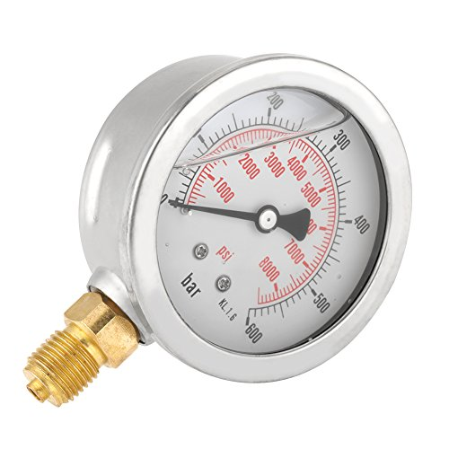 Akozon Hydraulic Pressure Gauge Manometer, 0-600Bar G 1/4 63mm Double échelle Manomètre Pneumatique et Hydraulique Manomètre Pression d'eau de Akozon