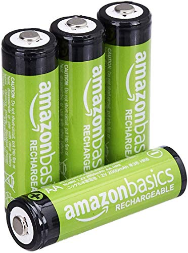 AmazonBasics Lot de 4 piles rechargeables Ni-MH Type AA 1000 cycles 2000 mAh/minimum 1900 mAh (design variable) de AmazonBasics