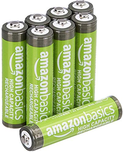 AmazonBasics Lot de 8 piles rechargeables Ni-MH Type AAA 500 cycles 850 mAh/minimum 800 mAh (design variable) de AmazonBasics