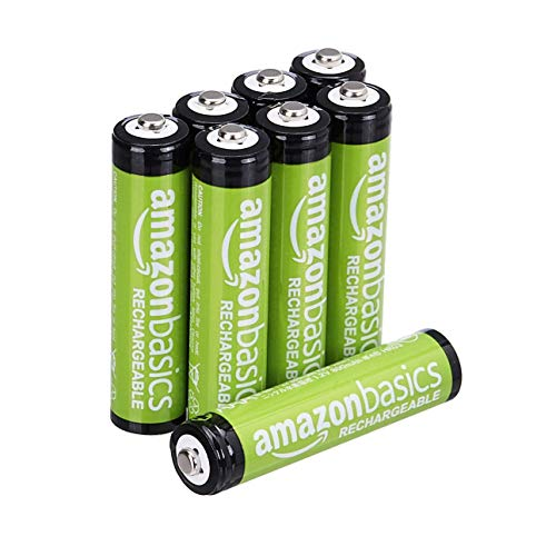 AmazonBasics Lot de 8 piles rechargeables Ni-MH Type AAA 1000 cycles à 800 mAh/minimum 750 mAh 1,2 V (design variable) de AmazonBasics