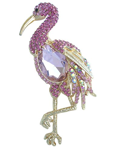 Sindary Art Style 10 cm Animal Flamant rose Broche Rose Cristal Autrichien Pendentif Bz6620 de Animal Brooch-Sindary Jewelry