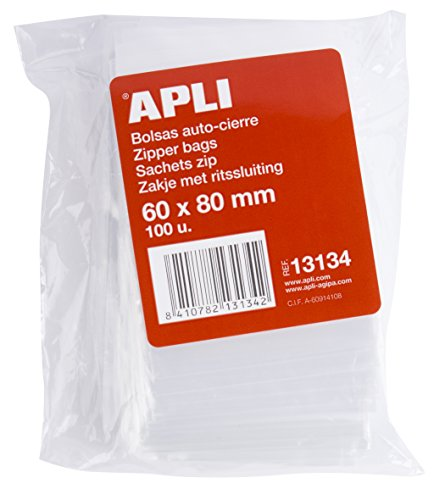 APLI Pack de 100 Sachets plastique refermable 60 x 80 mm zip de Apli