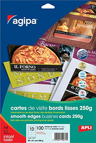 Apli 119471 100 Cartes de Visite First Class, 89 x 51 mm, 250 g, Blanc de Apli