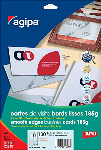 Apli 119473 100 Cartes de Visite First Class, 89 x 51 mm, 185 g, Blanc de Apli