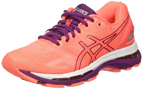 ASICS Gel-Nimbus 19, Chaussures de Running Femme, Multicolore (Flash Coral/Dark Purple/White), 37.5 EU de ASICS