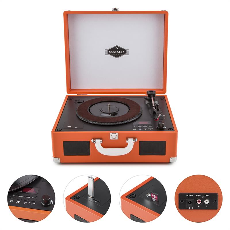 [OCCASION] - auna Peggy Sue Platine vinyle rétro & lecteur CD portable USB SD - orange de Auna
