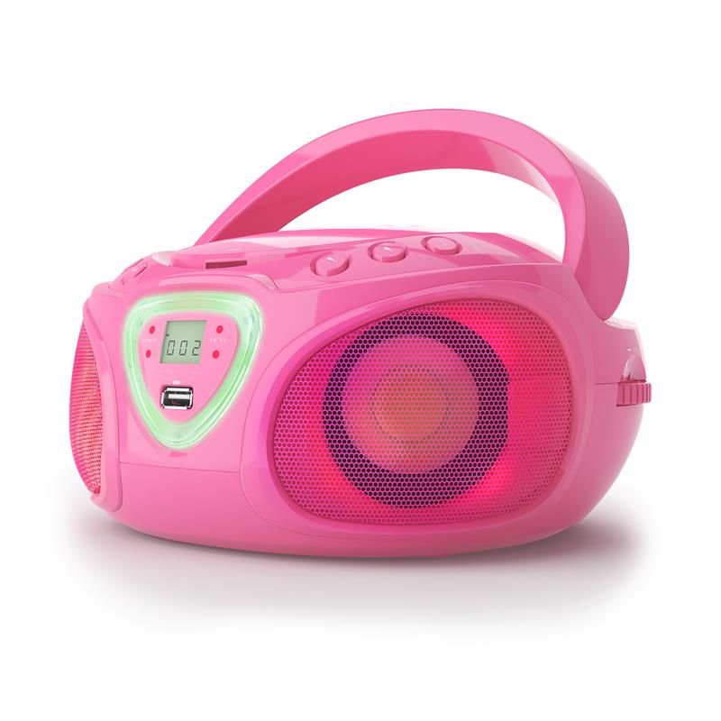 [OCCASION] - auna Roadie Boombox CD USB MP3 Radio AM/FM Bluetooth 2.1 Jeu de couleurs LED - rose de Auna