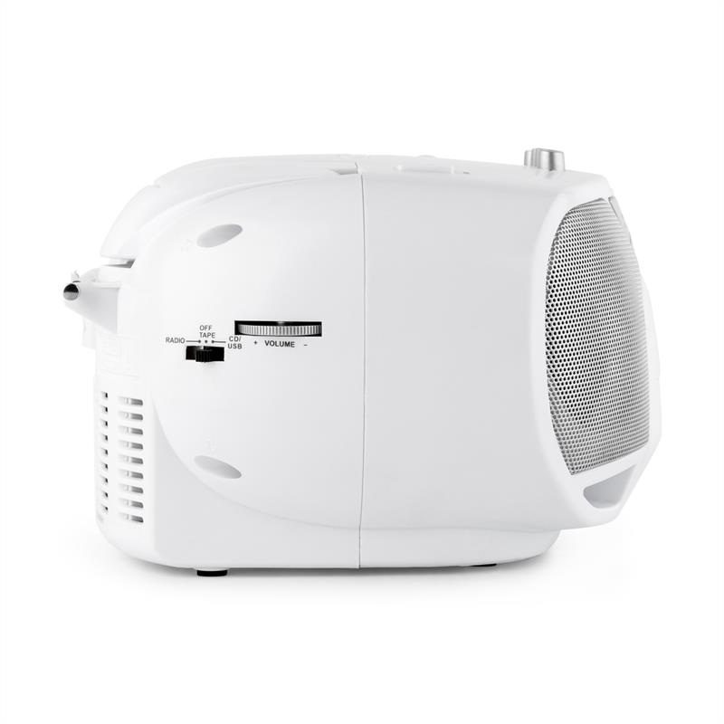 [RECONDITIONNÉ] - auna BeeBerry Boom Box Ghettoblaster Radio FM lecteur CD MP3 K7 USB - blanc de Auna