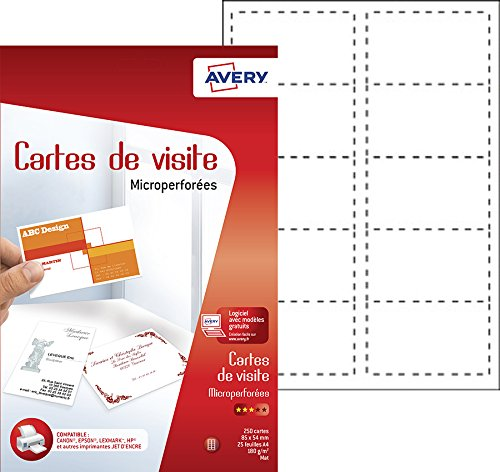 Avery 250 Cartes de Visite à Bords Micro Perforés - 85x54mm - Impression Jet d'Encre - Blanc (C32010) de AVERY