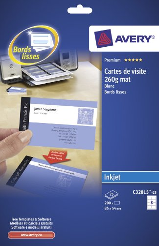 Avery - C32015-25 - 200 cartes de visite à bords lisses aspect mat 260 g/m² pour imprimantes jet d'encre - 85 x 54 mm de AVERY