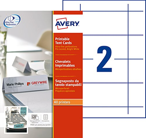 Avery - L4795-20 - Chevalets imprimables - 180 x 60 mm - Pack de 40 de AVERY