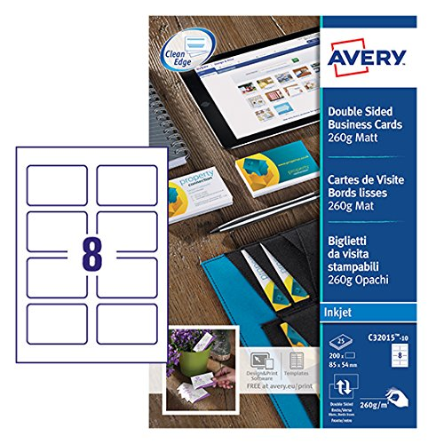 Avery C32015-10 Pochette de 80 Cartes de visite bords lisses 260g Mat, 85x54 mm de AVERY