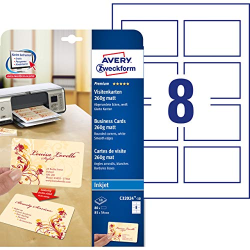 Avery - C32024-10 - 80 cartes de visite à bords lisses coins arrondis aspect mat 260 g/m² pour imprimantes jet d'encre - 85 x 54 mm de AVERY