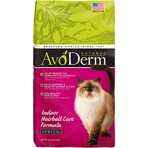 Breeder's Choice Avoderm Natural Hairball Corn Free Indoor Cat Pet Food 3.5lbs de AvoDerm