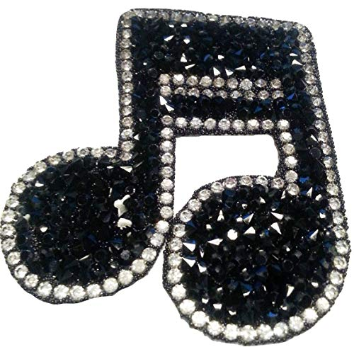 B2see Écusson Patch Badge Brode-rie Strass Note Clef Musique Noir en Strass  thermocollant 6 59569f5a4c9