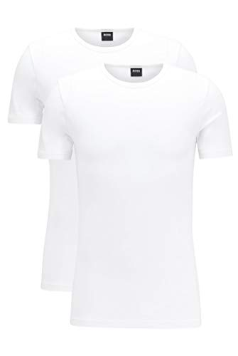 BOSS Hugo Boss T-Shirt RN 2P CO/EL, T-Shirt Homme, Blanc (White), X-Large de BOSS Hugo Boss