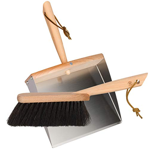 Redecker Horsehair Hand Brush and Dust Pan Set with Oiled Beechwood Handles with Magnet, 36cm de BÜrstenhaus redecker