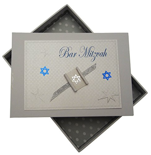 White Cotton Cards Carte de bar Mitzvah Mini Album Photo Cadeau Juif (garçons) de White Cotton Cards