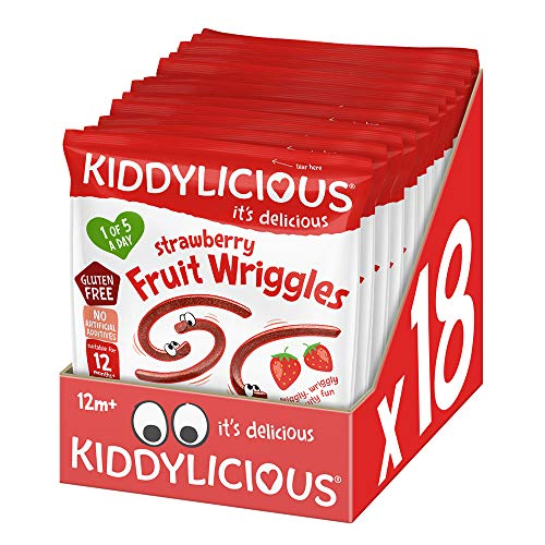 Kiddylicious Strawberry Wriggles 12g, (pack of 18) de BabyLand
