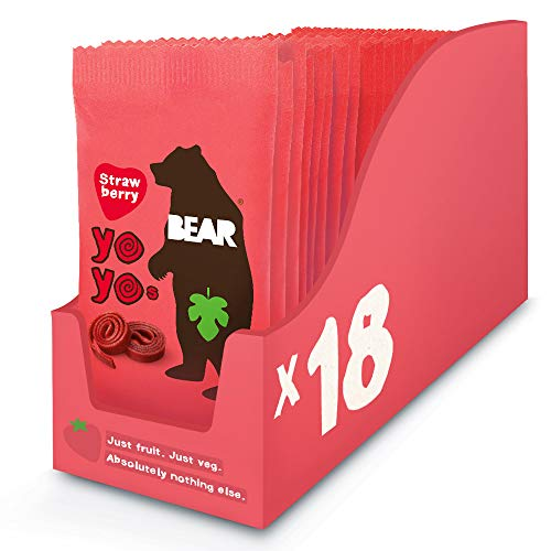 Bear Yoyo 100 Percent Fruit Rolls Strawberry 20 g (Pack of 18) de Grocery Centre