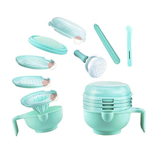 Broyeur d'aliments pour bébés 8 en 1 Alimentaire Coffret Maher Maker Chargeur de aliments portable Smasher Serve Bol Légumes Fruit Ricer Grinder 8Pcs / Set de Beito