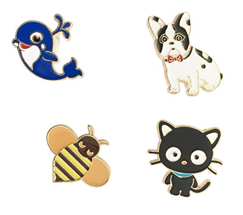 Broche Broche Badge Pins métal Broche Abeille Lot de 4 chien chat Baleine de Beyond