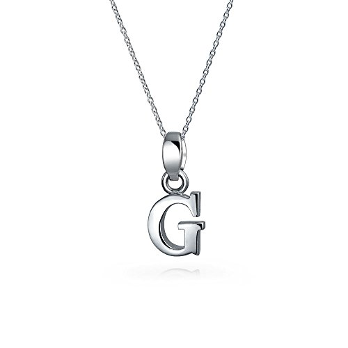 Bling Jewelry pendentif initiale Lettre G Bloc Sterling collier argent 18 pouces de Bling Jewelry