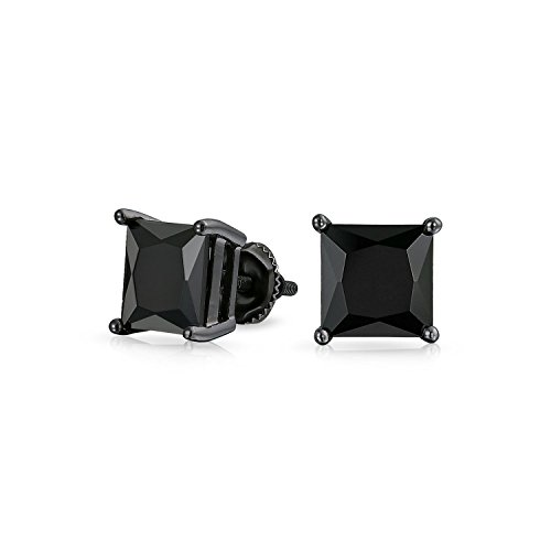 Bling Jewelry Bague argent Onyx simulées CZ Carrés Screw Back Stud Earrings de Bling Jewelry