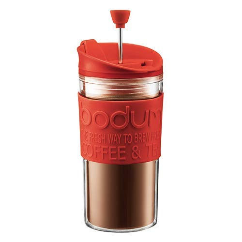 Bodum - K11102-294 - Travel Press - Set Mug à Piston + Couvercle Extra - 0,35 L - Rouge de Bodum