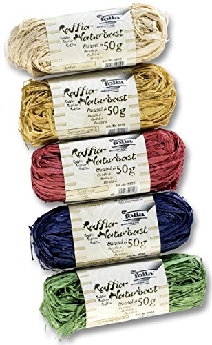 """Folia 901009 – Raffia raphia naturel, 5 Ensemble je 50 g, couleurs assorties"" de Folia"