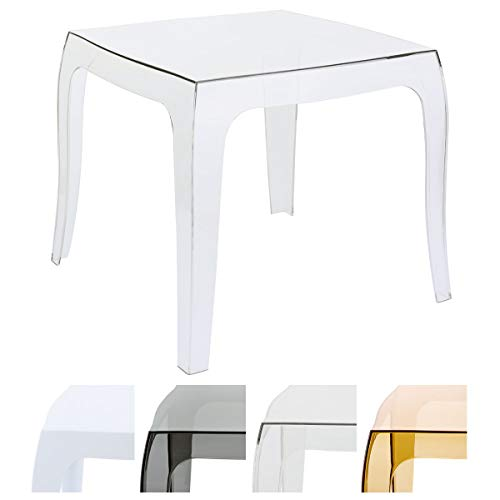 """CLP Table d'appoint QUEEN de haute qualité, table design, plastique, 50 x 50 cm (environ), empilable transparent"" de CLP"