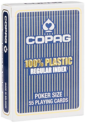 Copag - 104001334b - 100% Plastic - Jeu De Poker 55 cartes - Format 63X88Mm - Regular Index - Etui Bleu de Copag