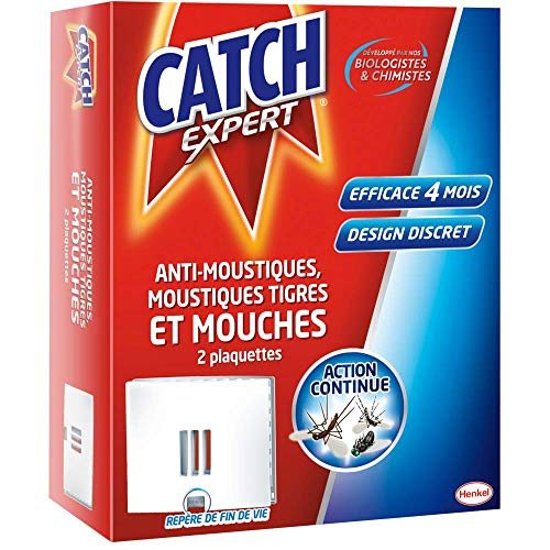 CATCH Set de 2 Plaquettes Anti Insectes Volants Anti Mouches Moustiques/Tigres de Catch