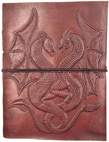 Kooly Zen - Carnet, bloc notes, journal, livre, cuir véritable, vintage, Double Dragon, 13cm X 17cm, Papier premium de C