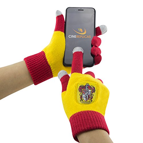 Cinereplicas - Harry Potter - Gants Ecran Tactiles - Licence Officielle - Maison Gryffondor - Taille Unique - Rouge et Jaune de Cinereplicas