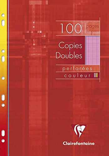 Clairefontaine 4743C Paquet de 100 pages copies doubles perforation universelle grands carreaux 90 g A4 Assortis de Clairefontaine
