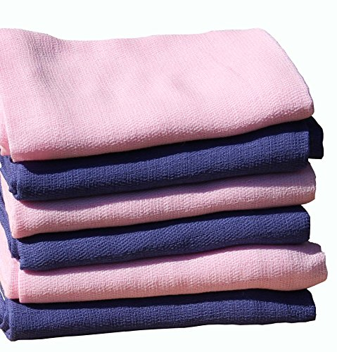 ClevereKids Langes bébé en mousseline de coton monochromatique | Lot de 6 | 70 x 80 cm | double tissage | production non polluant certifiée (navy-rose) de Clevere Kids baby-collection
