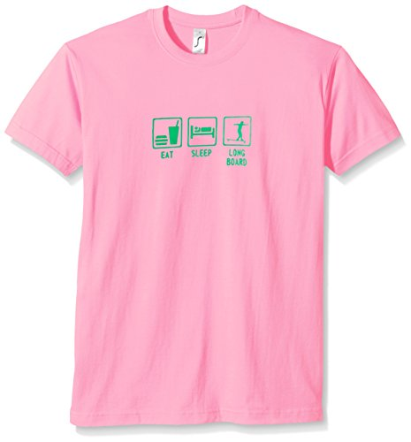 Coole-Fun-T-Shirts Eat, Sleep, Longboard - T-Shirt - Garã§On - Rose (Pink-Green) - X-Large de Coole-Fun-T-Shirts