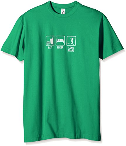 Coole-Fun-T-Shirts Eat, Sleep, Longboard - T-Shirt Garçon, Vert (Green-Weiss), One Size (Taille Fabricant: 140cm) de Coole-Fun-T-Shirts