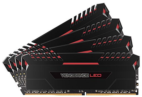 Corsair Vengeance LED - Kit de Mémorie Enthousiaste (64Go (4x16Go), DDR4, 3200MHz, C16, XMP 2.0) - Noir con Rouge LED de Corsair